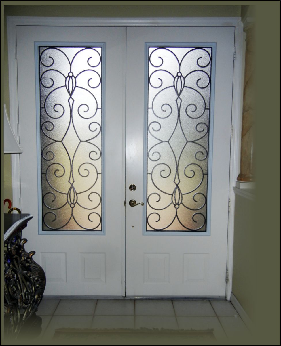 3 4 look wrought iron in a double 8 ft front door white - Wrought iron kitchen cabinet door inserts ...