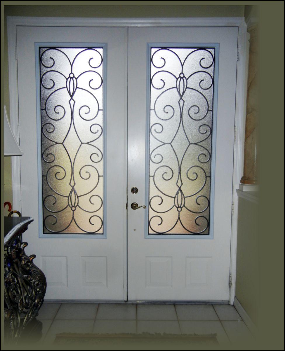 Double front doors white - 3 4 Look Wrought Iron In A Double 8 Ft Front Door White Doors