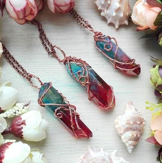 Galaxy Aura quartz necklace, Aura Quartz necklace, Blue Red Quartz necklace, Rainbow crystal necklace, valentine's gift