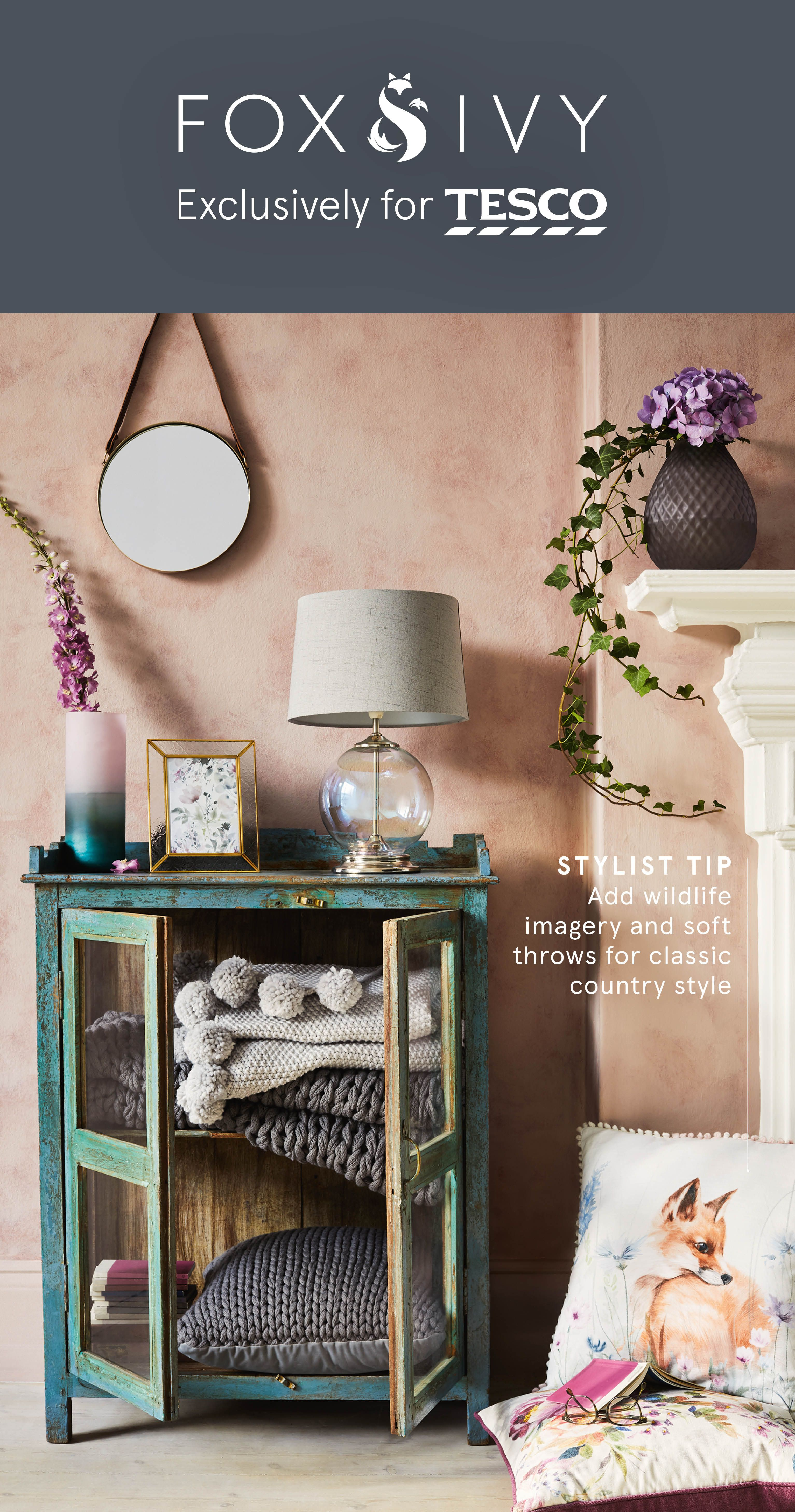Discover the spring summer collection from fox ivy exclusively for tesco with elegant living room accessories in a range of luxurious materials