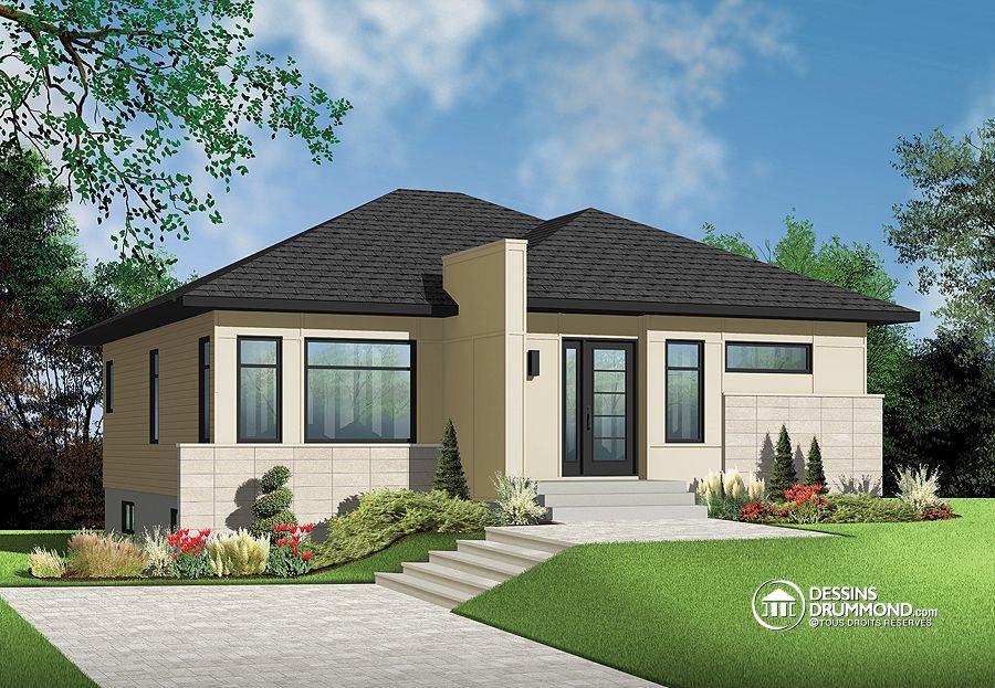 modèle contemporain plan de maison 3135-V1 de Dessins Drummond
