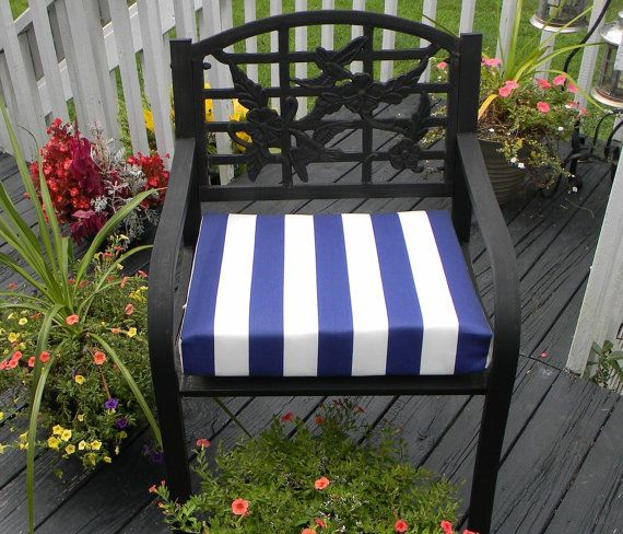 Indoor Outdoor Foam Universal Chair Seat Cushion Navy Blue White Stripe With Ties Choose Size By Pillowscushionsoh Seat Cushions Indoor Outdoor Seating