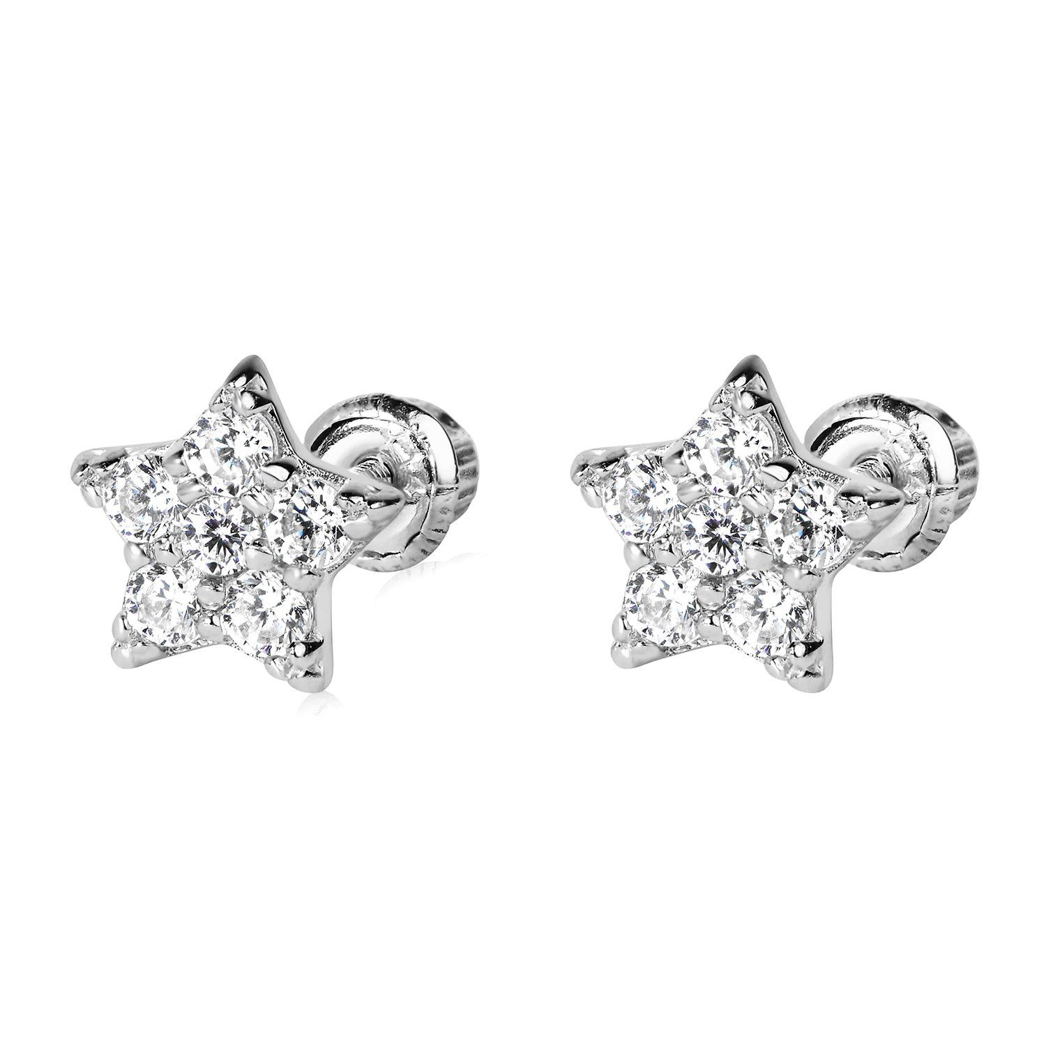 Olivias Collection 14K White Gold Ball Stud Earrings 4mm