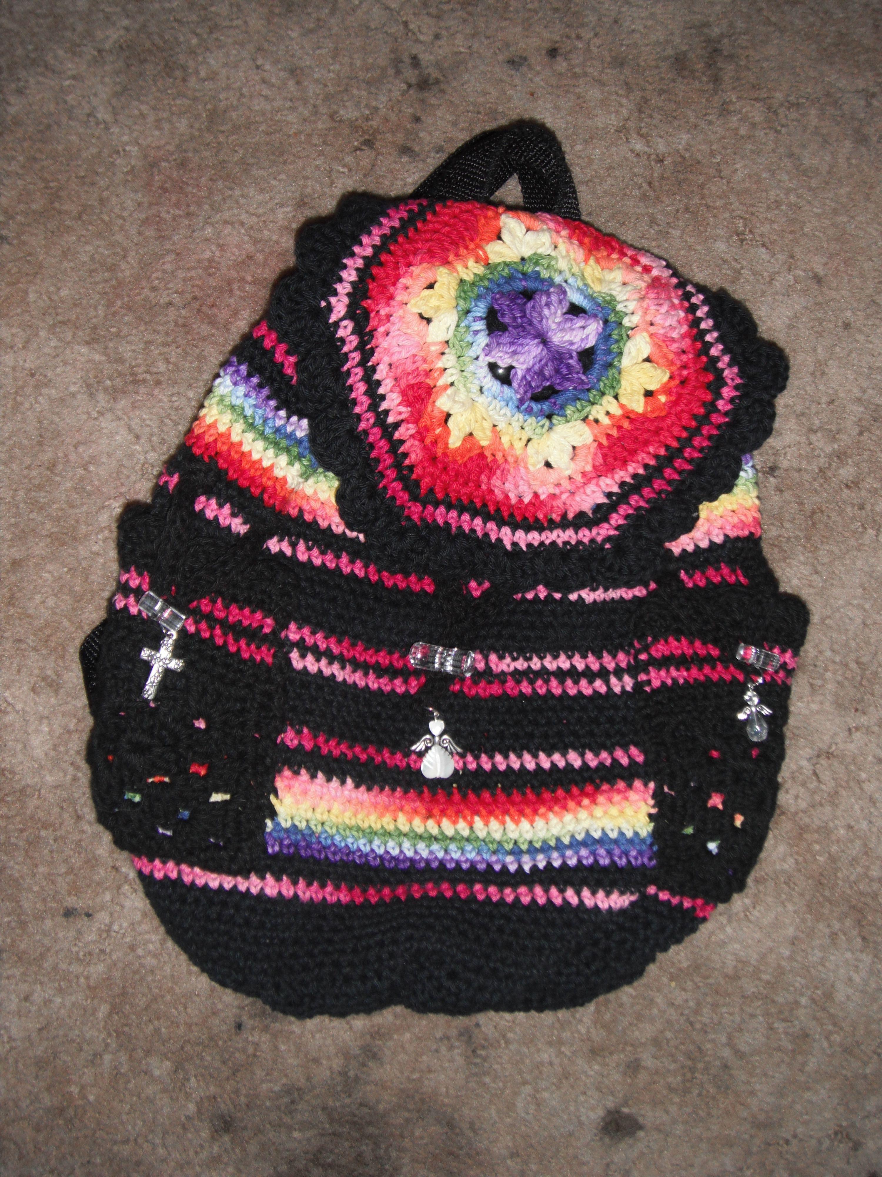 rainbow crochet back pack purse my crochet pinterest rainbow