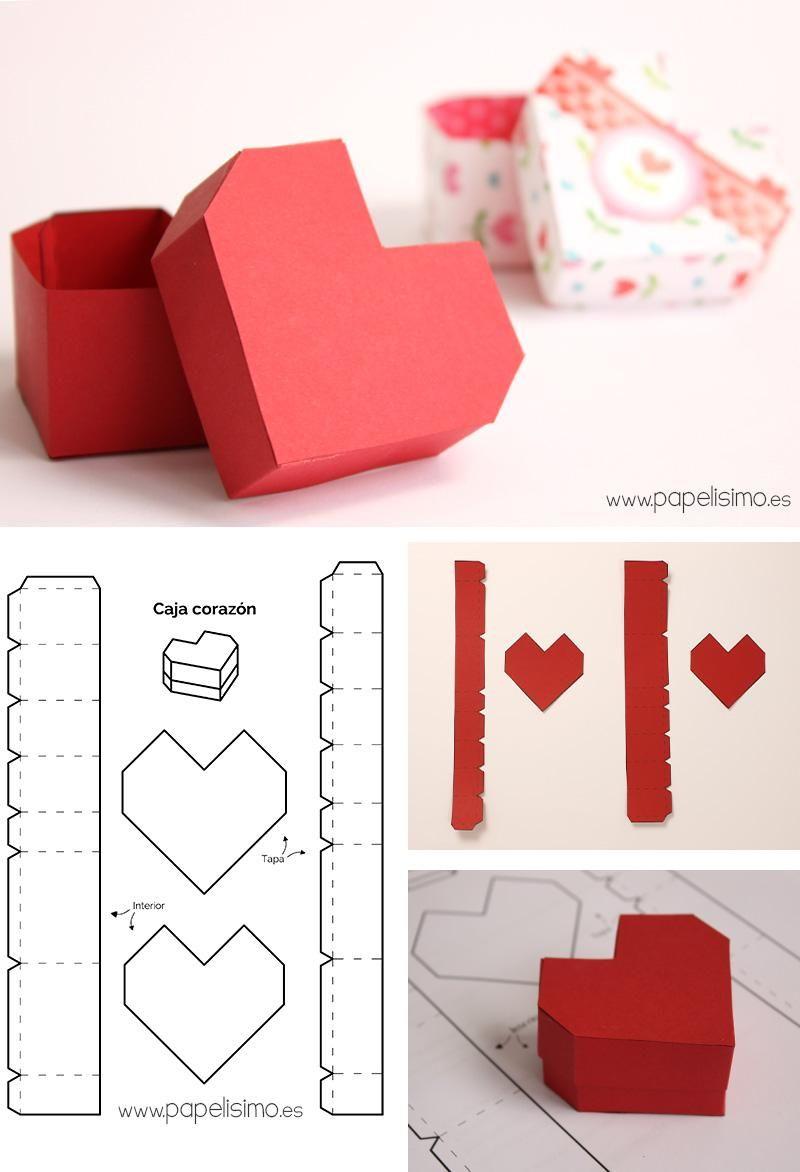 Caja de cartulina en forma de corazón (con plantilla incluida) en ...
