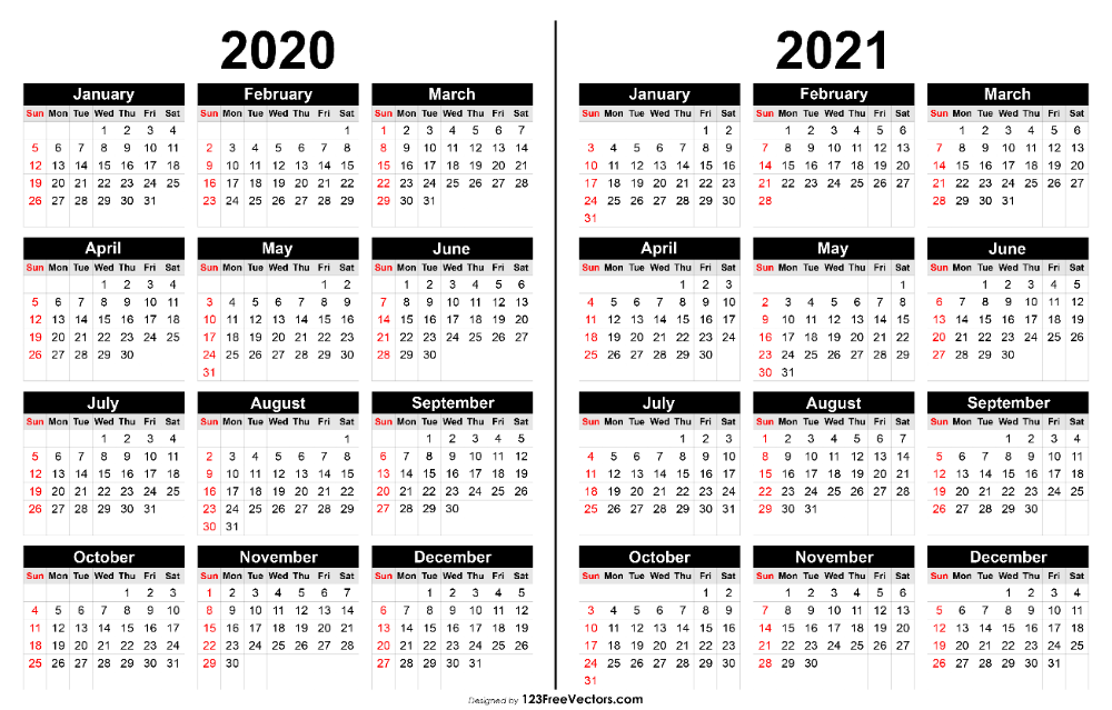 2020 And 2021 Calendar Printable In 2020 Calendar Printables Printable Yearly Calendar 2021 Calendar
