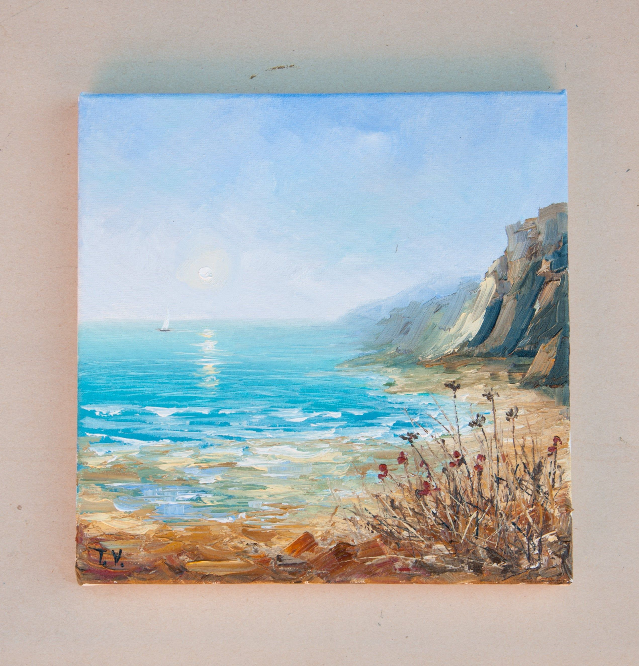 Oil Painting Art On Canvas Ocean Seascape Water Landscape Small Painting Sky Blue Sea Mountains Nautical Scene Boa Ocean Painting Seascape Paintings Canvas Art