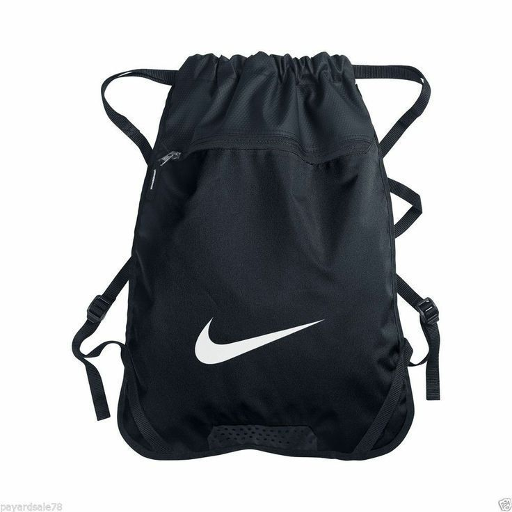 4ce3a2a3d Nike Team Drawstring Yoga Gym Training Black Zipper Pocket Backpack Bag Sack  NWT #Nike