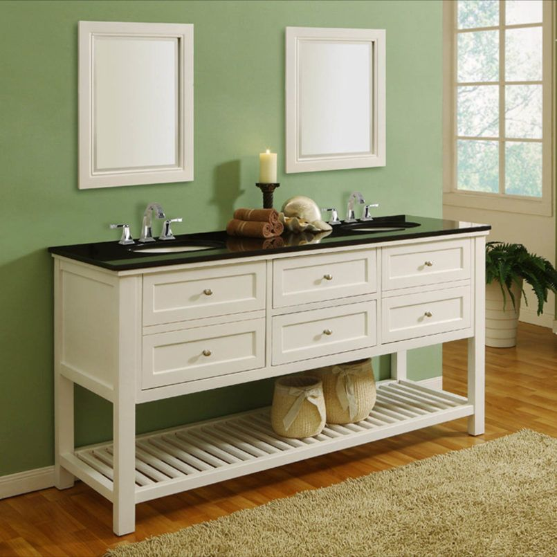 Bathroom  60 Inch White Double Sink Vanity With Black Top And