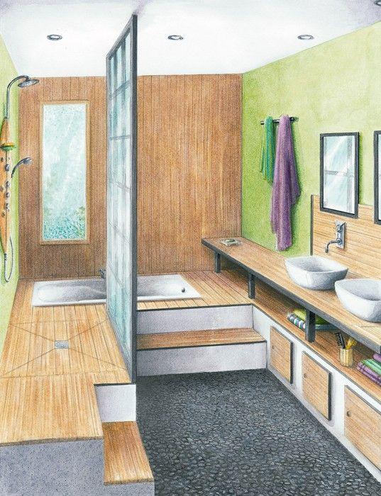 Une salle de bains zen de 7,85 m2 douche surelevé sims Pinterest - amenagement de petite salle de bain