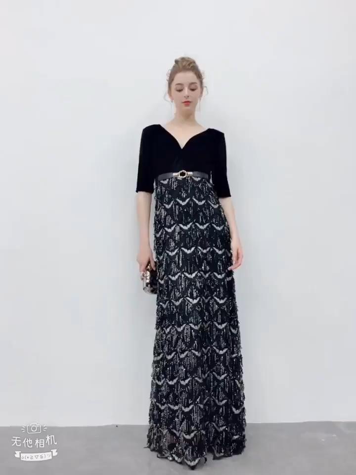 e60b636cd9e Charming Black Evening Dresses 2019 A-Line   Princess Deep V-Neck Suede  Sash Sequins 1 2 Sleeves Floor-Length   Long Formal Dresses