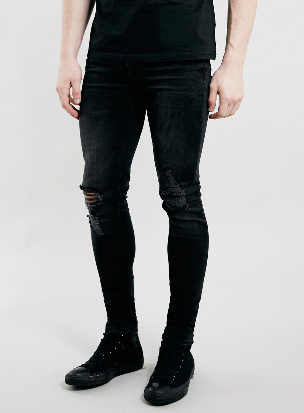 Washed Black Ripped Spray On Skinny Jeans - Men's Jeans - Clothing ...
