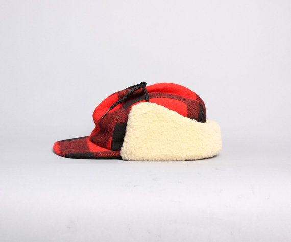 a48c6b5a651 80s FILSON Hunting HAT   Buffalo Plaid Wool with Shearling Ear Flaps ...