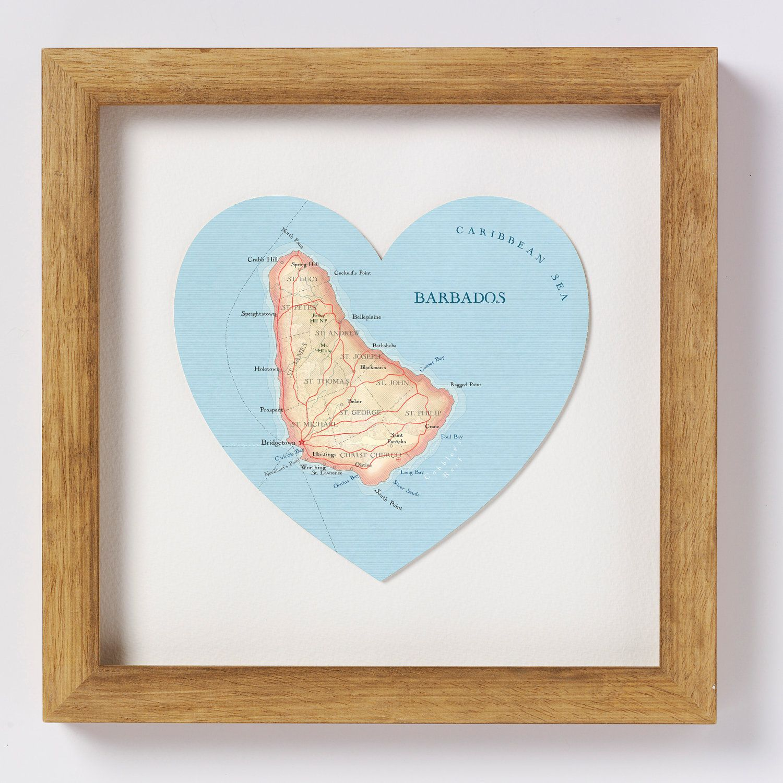 Barbados map heart print - framed. $73.00, via Etsy.