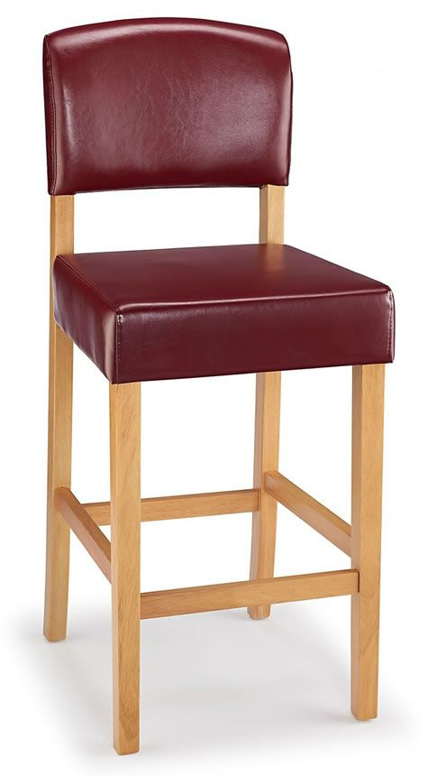 Lepson Kitchen Bar Stool Red Bonded Leather And Oak Wood