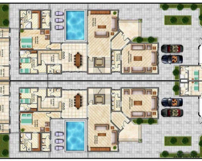 تصميم لفيلا توين من رواق الخليج 256 متر مربع للفيلا Model House Plan House Plans Mansion House Floor Design