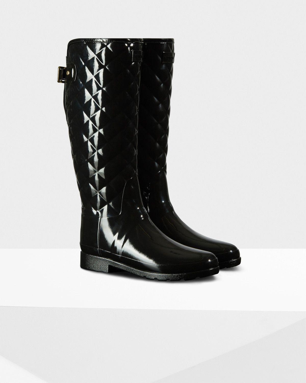 online store eec8b 65e01 Mujer Negro Botas altas refinadas brillantes y acolchadas Wellington  Original para   Sitio oficial de Hunter
