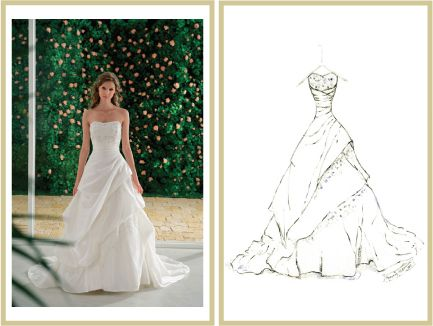 A sketched dressed from a photo....beautiful piece of art.  Click here to watch the wedding dress sketch video http://www.mydreamlines.com $120