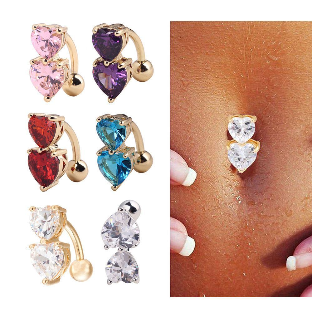 Navel piercing ideas  Reverse Crystal Bar Belly Ring Gold Body Piercing Button Navel Two