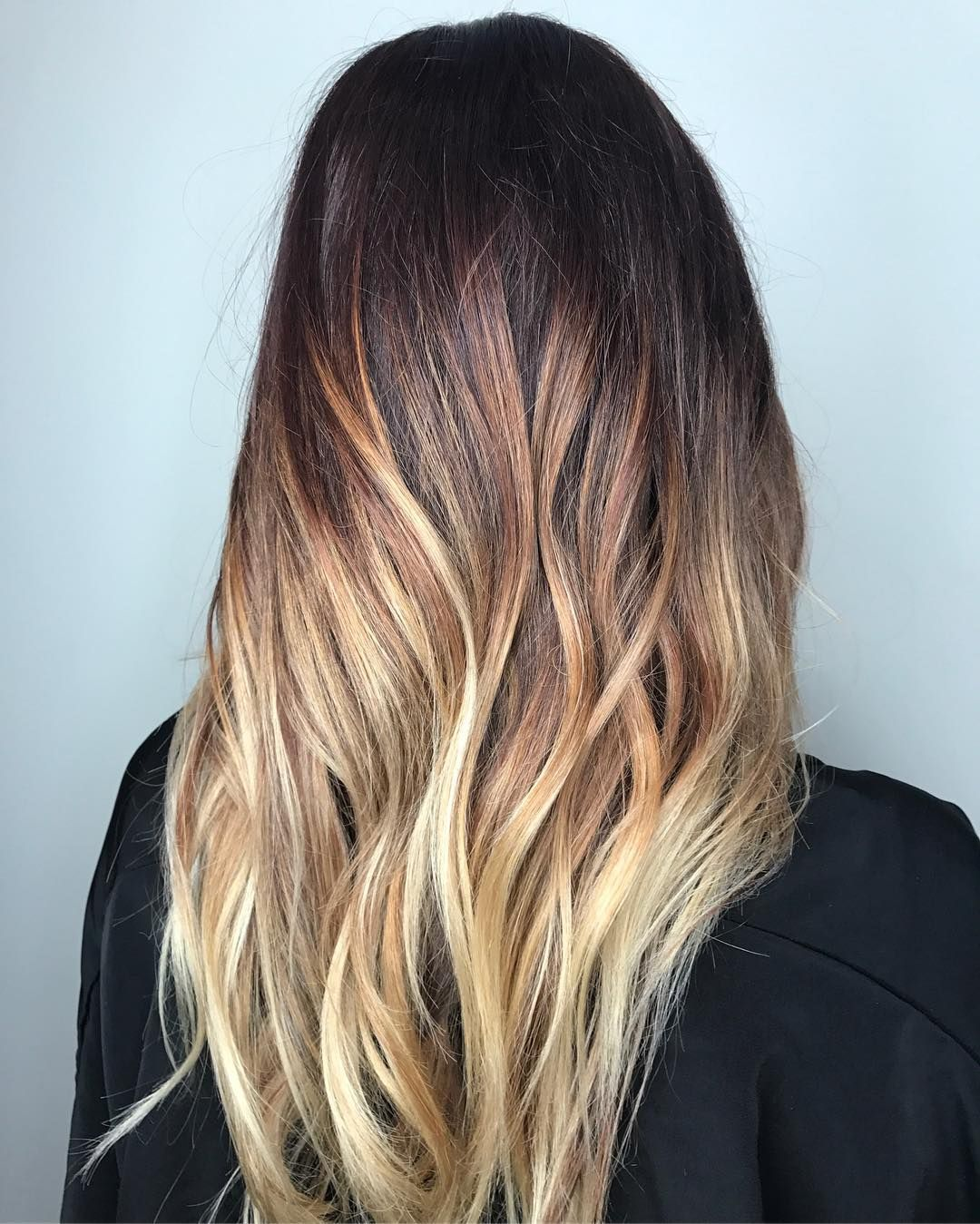 High Contrast Copper And White Blonde Balayage For Dark Brown Hair