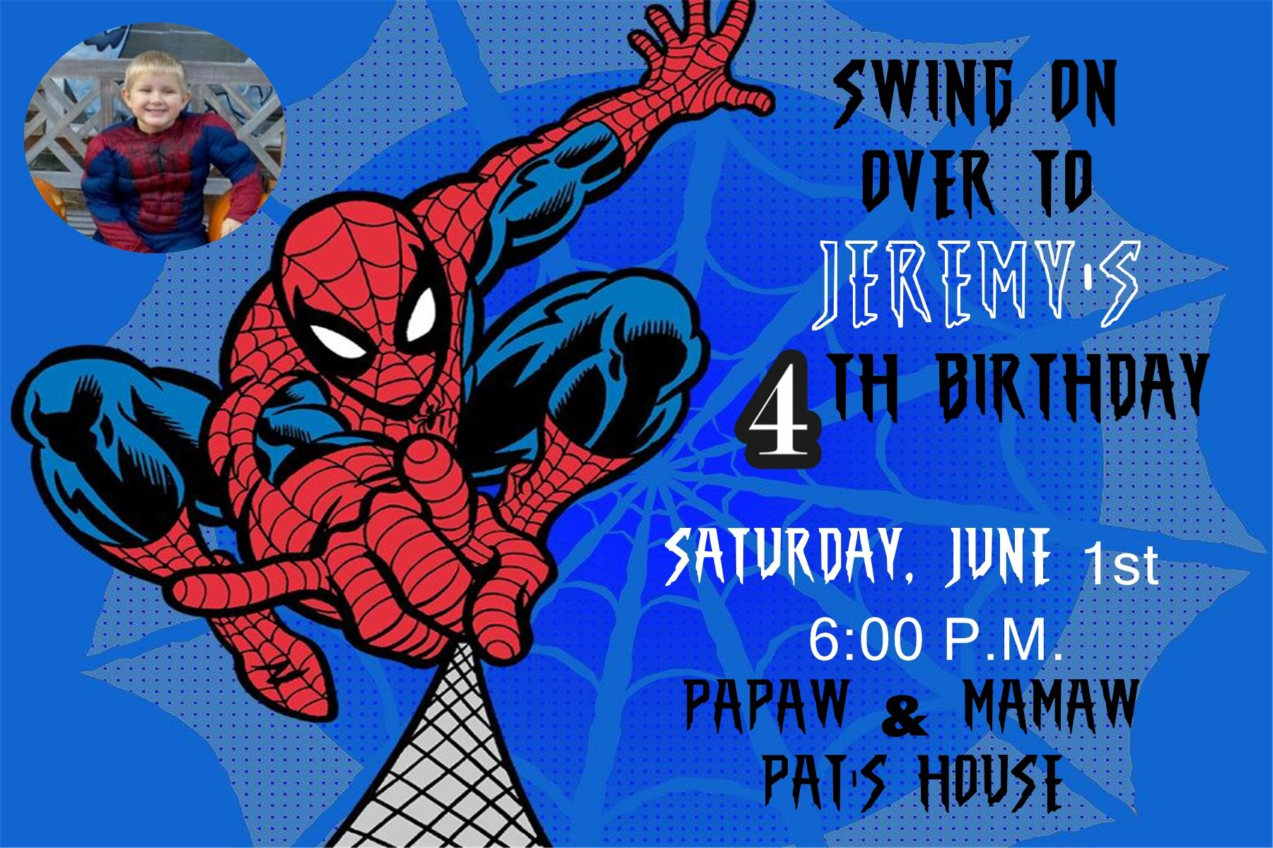 Spiderman Birthday Invitation with photo in a 4x6 Contact me to