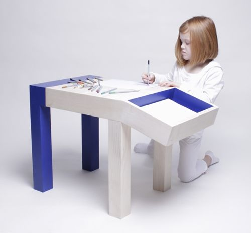 """animal drawing table / desk for kids, designed from children's drawings of tables and dogs. the """"head"""" provides storage for supplies."""