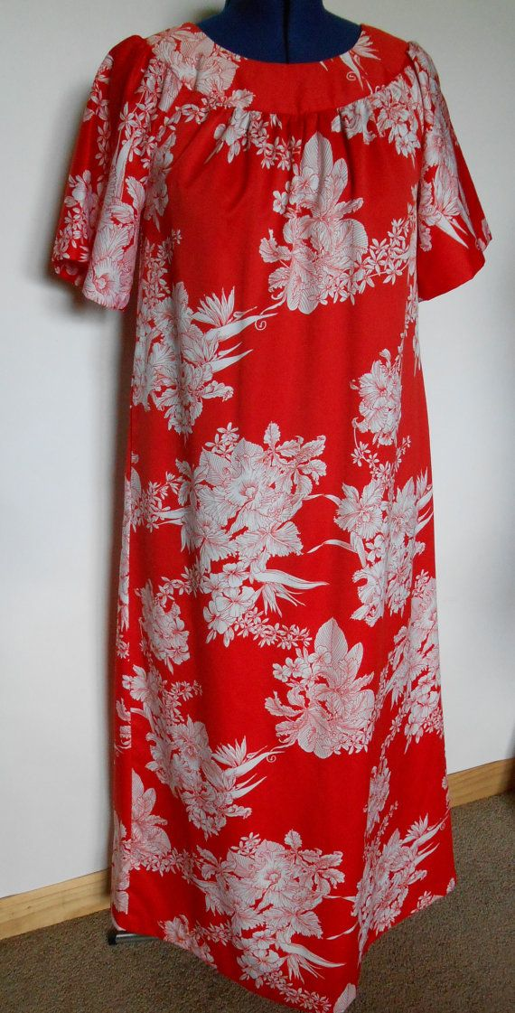 0835430e390 Vintage Red and White Hawaiian MuuMuu by SmallTownGirlVintage