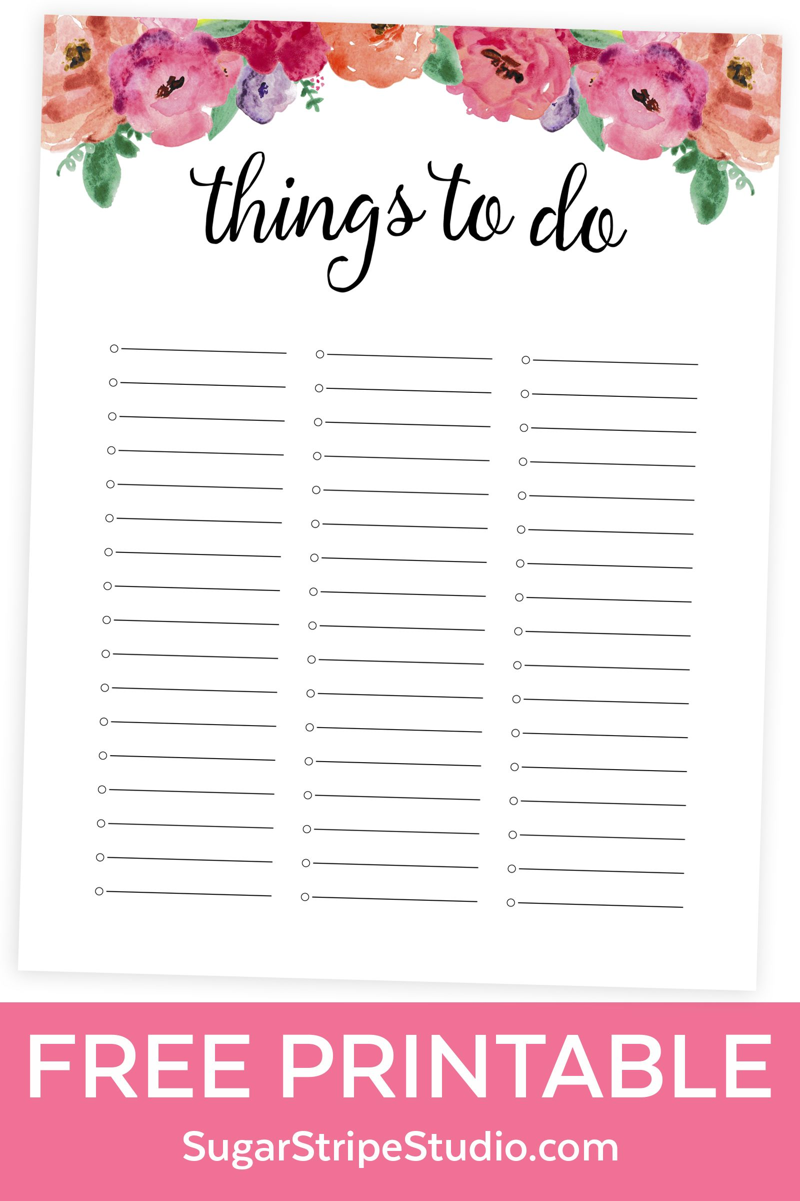 free to do list printable - watercolor floral design | food * family