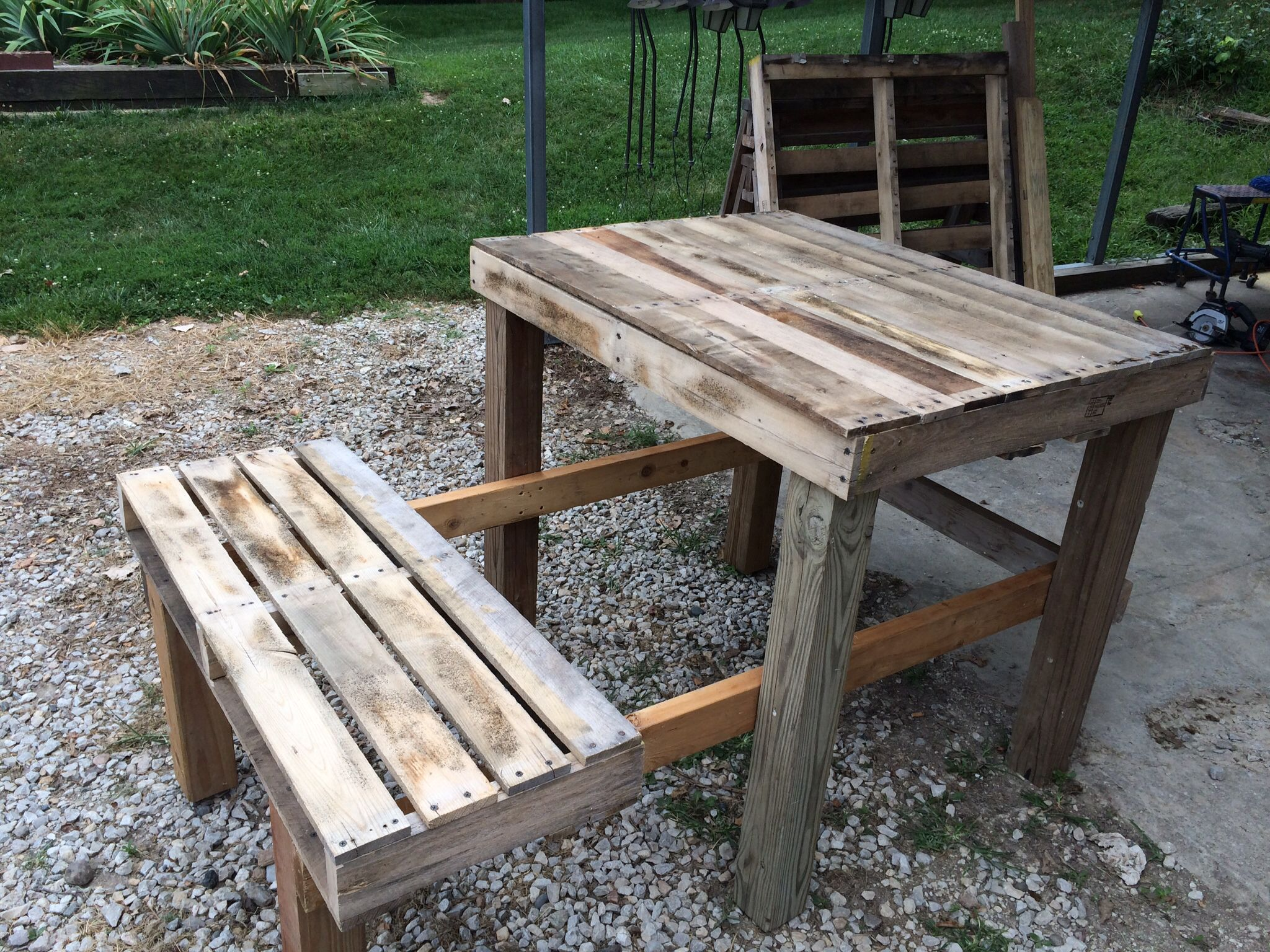 Shooting bench from wood pallets. Shooting bench