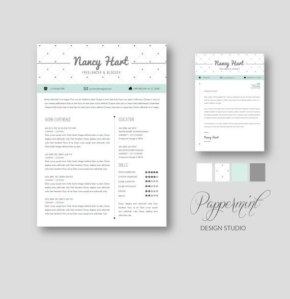 Resume Template with Cover Letter for WORD by Pappermint on Etsy ...