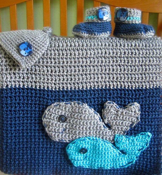 Crochet Whale Nursery Set Modern Nursery Crochet by CrochetHey