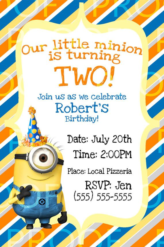 Custom Despicable Me 2 Birthday Invitation Photo Can be Added – Custom Party Invitation