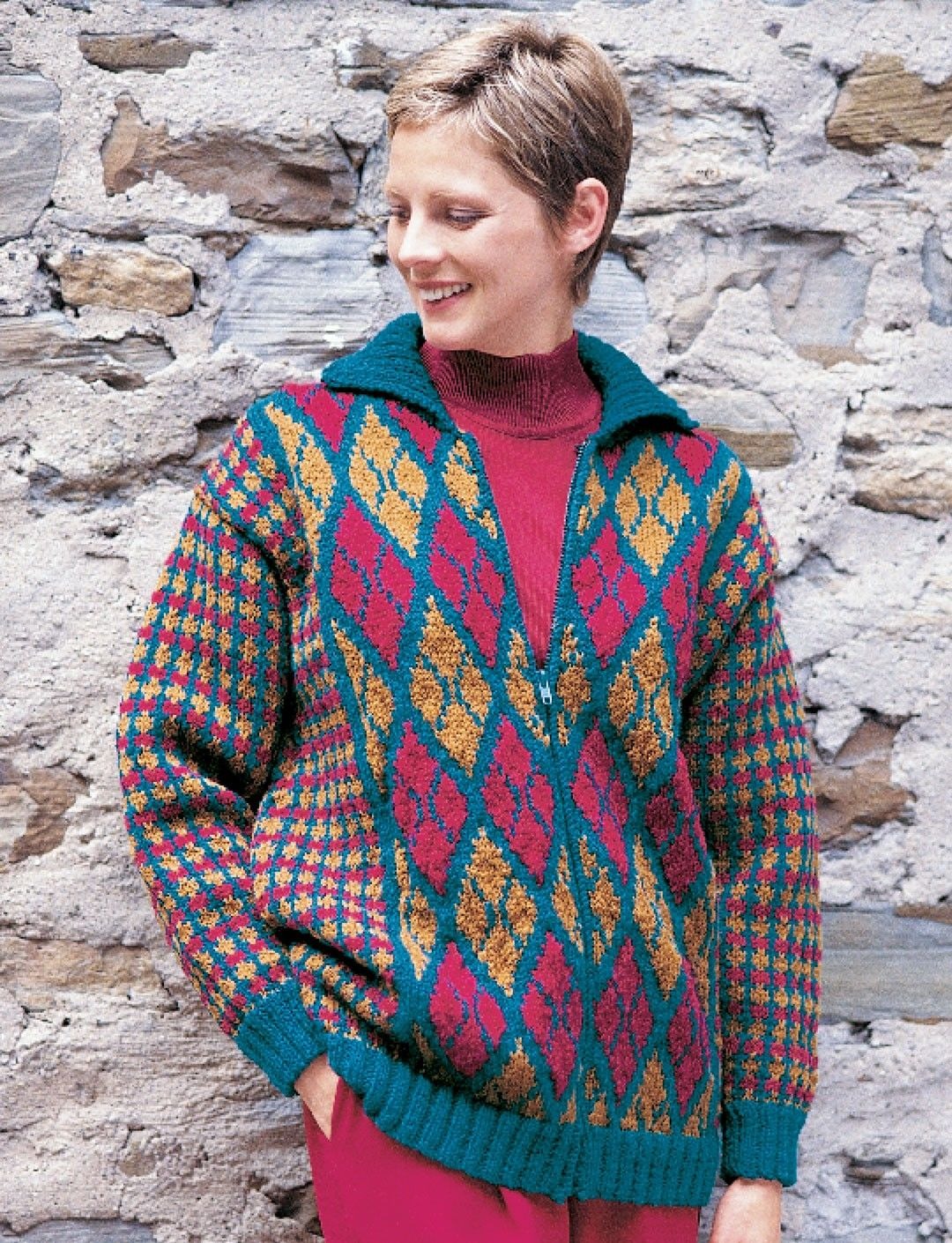 Yarnspirations.com - Patons Argyle & Plaid Jacket - Patterns ...
