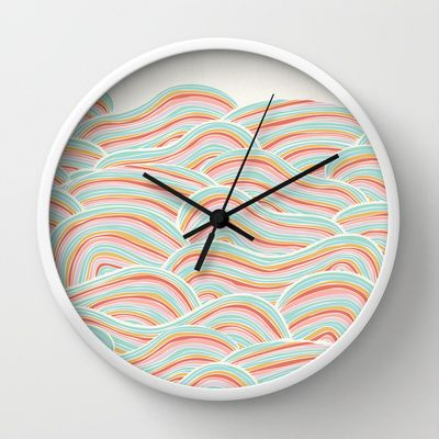 Summer Sea Waves Wall Clock by Pom Graphic Design  - $30.00 #wallclock #homedecor #decor #accentdecor #seawaves #waves #nautical #nauticaldecor #summer #clock #forthehome