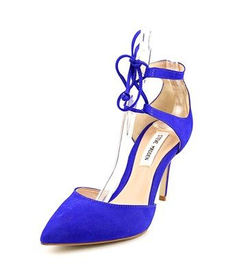 Steve Madden Womens SAMMBA Leather Pointed Toe Ankle Strap Blue Size 10.0