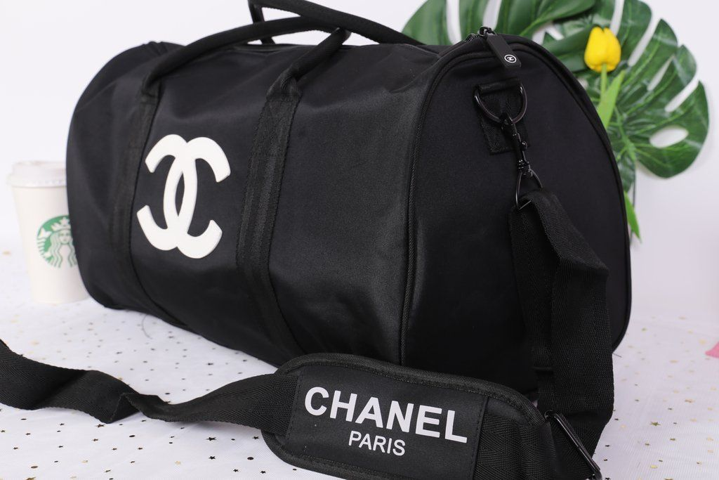 4bbd21b34b8278 Chanel White CC Logo Travel Gym Duffle Weekend Bag Large Vip Gift ...