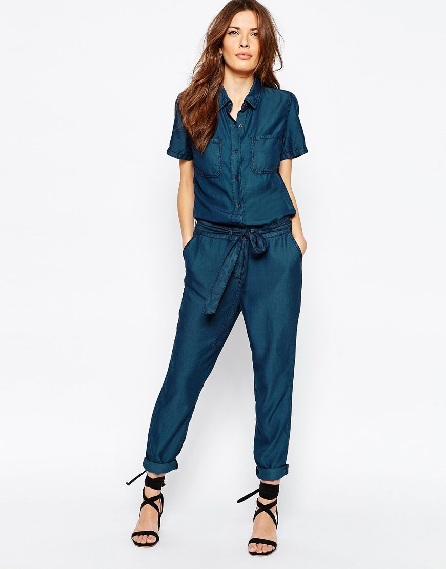 1d3bfb9829d Image 1 of Vila Tie Front Denim Jumpsuit