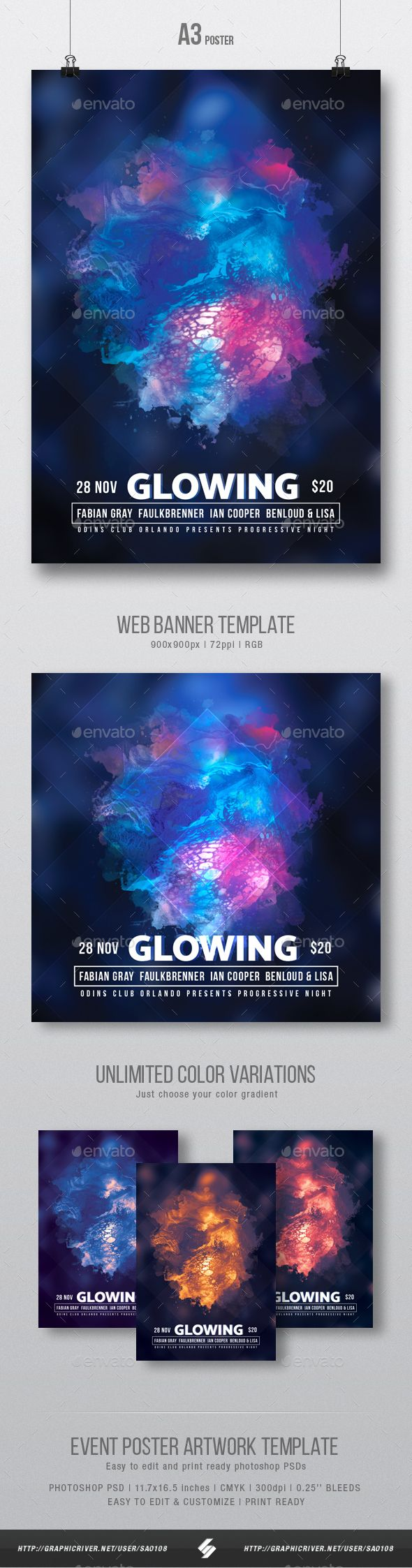Glowing  Progressive Party Flyer  Poster Artwork Template A