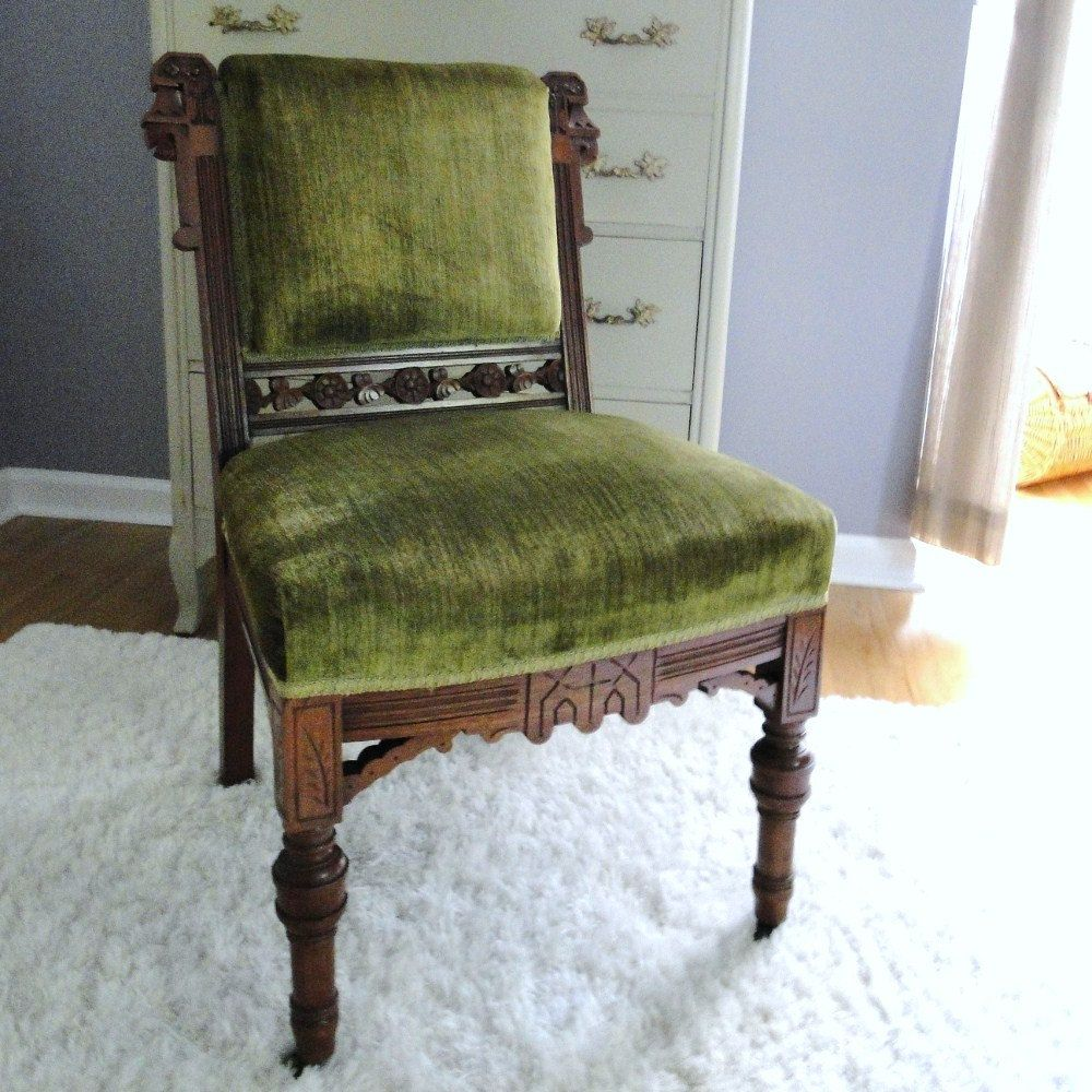 Vintage Eastlake Chair Antique Victorian Seating Crushed Velvet Upholstered  Armless Chair Moss Emerald Green Jewel Toned - Vintage Eastlake Chair Antique Victorian Seating Crushed Velvet