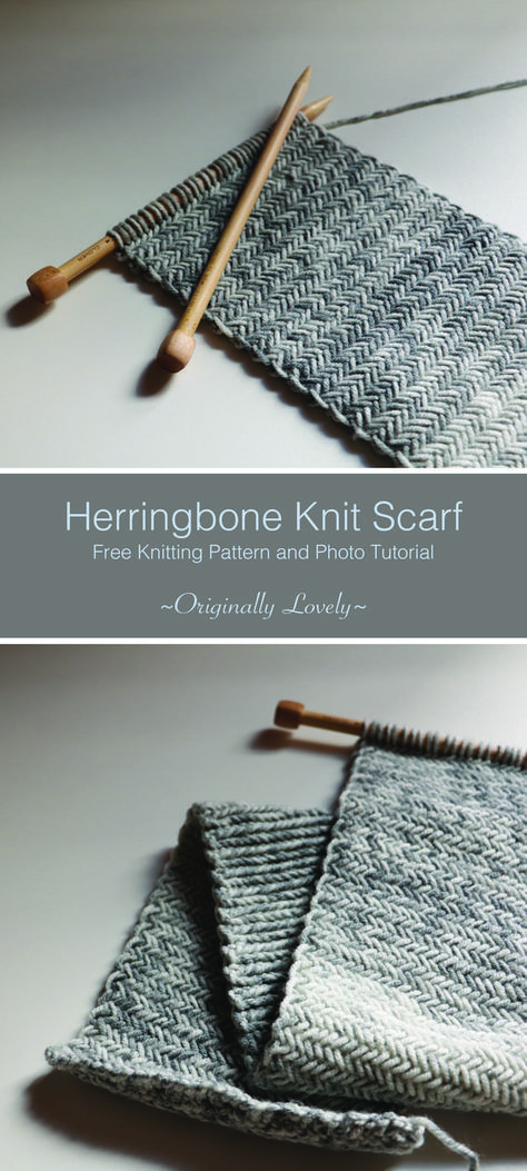 Herringbone Knit Scarf #knittinginspiration