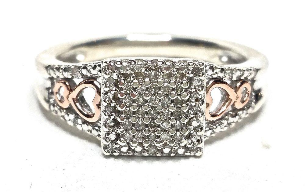 .18CTW Diamond Heart Ring 14KT Rose Gold .925 Size 7 H-J I1 Sterling GV90734  #Cluster