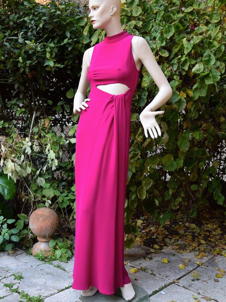 Jacques Fath 1970 Silk Crepe Drape Evening Gown Etsy Cocktail Dress Vintage Vintage Prom Dresses 1950s Evening Gowns [ 1059 x 794 Pixel ]