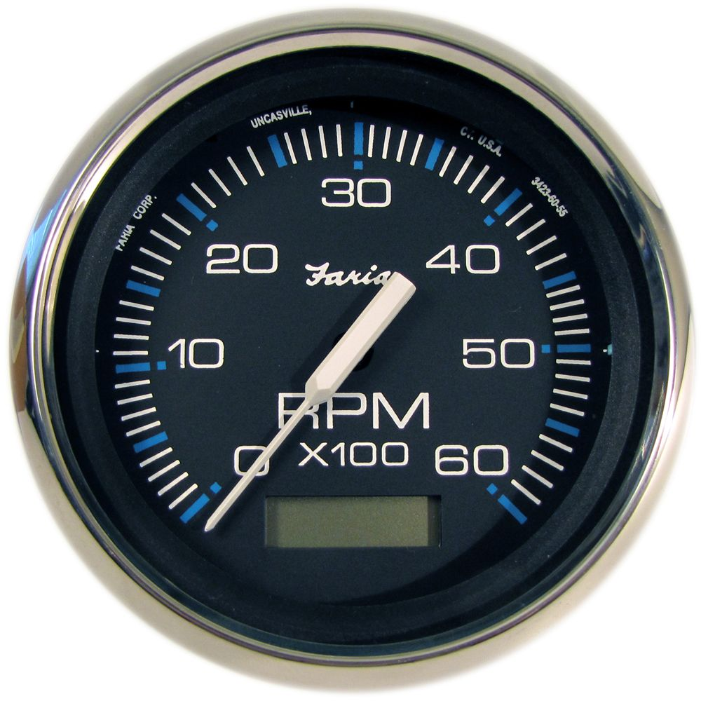 faria chesapeake black ss 4 tachometer w hourmeter 6 000 rpm gas  [ 1000 x 1000 Pixel ]