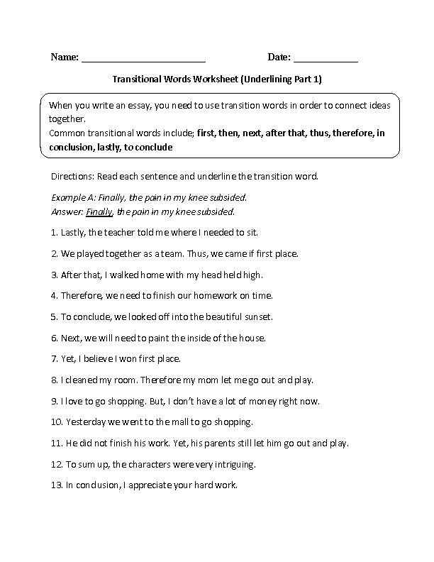 Transitional Words Underlining Part 1 Intermediate | Englishlinx.com ...
