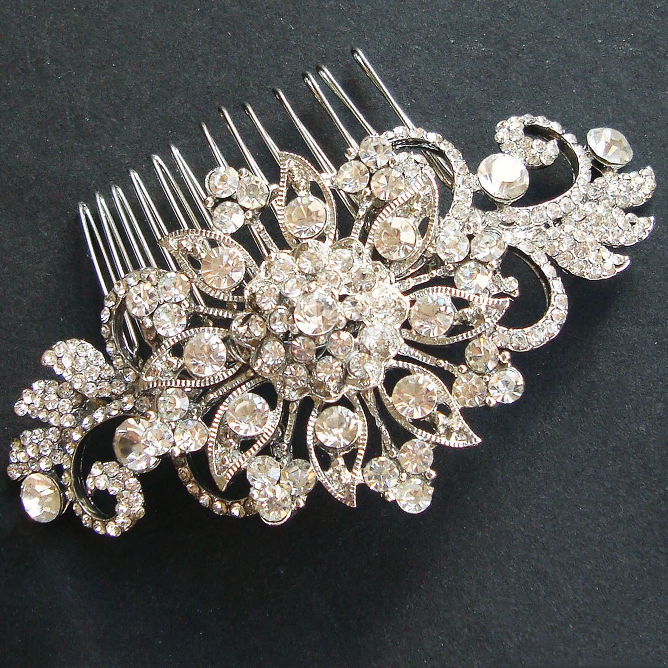 vintage crystal bridal hair comb, victorian rhinestone wedding