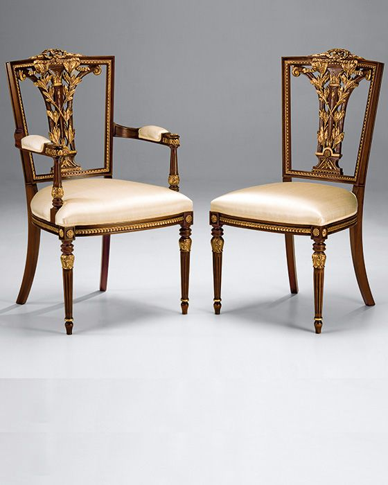 Modern carved beech wood chairs in Hepplewhite style. Hepplewhite chairs  have antique walnut finish and antiqued gold leaf trim. These occasional  chairs are ...
