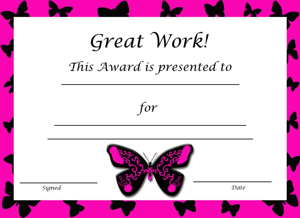 Pin by vivian jones on great ideas pinterest certificate free butterfly award certificate for girls yelopaper Choice Image