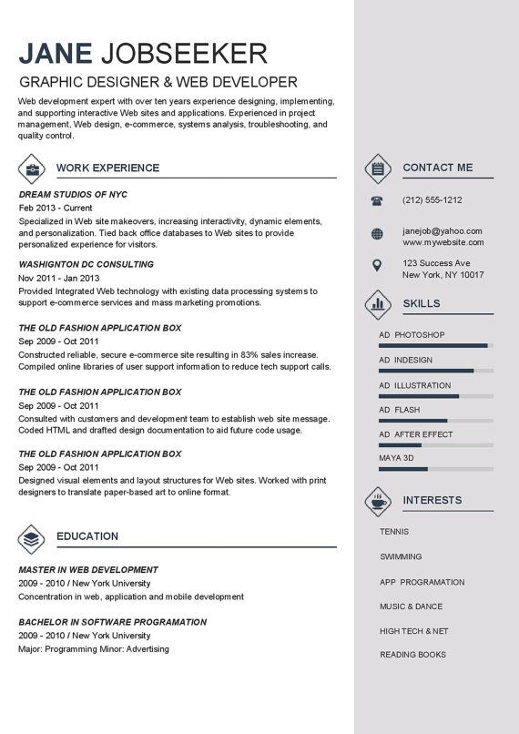 Best Resume Templates To Buy   Resume Template Instant Download