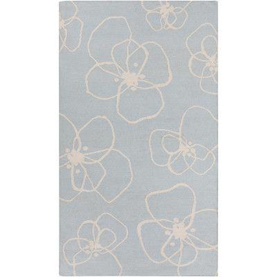 Lotta Jansdotter Textila Sky Blue Floral Area Rug Rug Size: 2' x 3'