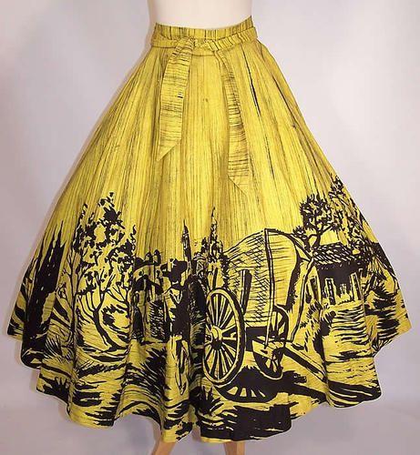 Vintage Naitan Yellow & Black Figural Hand Painted Mexican Circle Skirt Size L